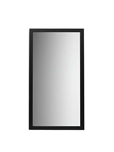 RONBOW Alina 18 Inch x 31 Inch Bathroom Contemporary Solid Wood Framed Bathroom Mirror in Black Finish, Hung Vertically or Horizontally 600118-B02 by Ronbow