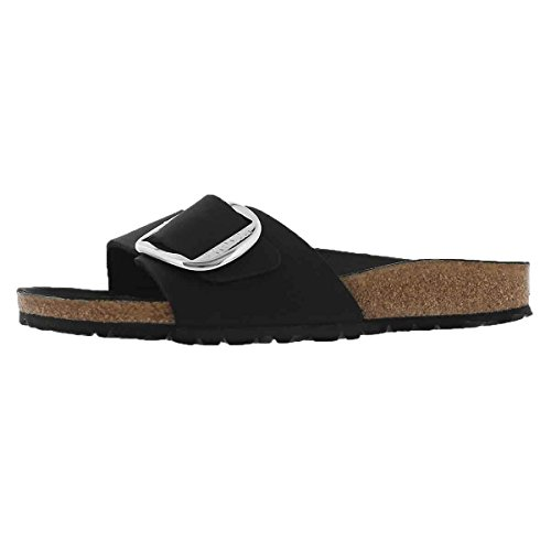 Birkenstock Women's Madrid 1-Strap Cork Footbed Sandal - Narrow Black 39 N (Big Buckle Sandals)