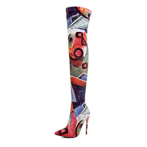 Women Stiletto Over The Knee Boot Thin High Heel Stretch Printed Pull On Pointed Toe Thigh High Boots Red