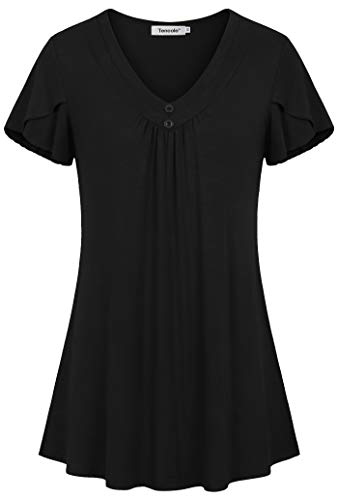 - Tencole Flutter Sleeve Tops for Women,Ladies Flare A Line Elegant Pleated Short Sleeve V Neck Ruffled Front Flowy Casual Comfy Soft Summer Prime Wardrobe Womens Tunic Tee Shirts Blouse Tops Black XXL