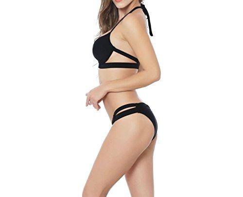 KUWOMINI.Fashion Señora Del Color Puro Bikini Traje De Baño De Europa Y América Black