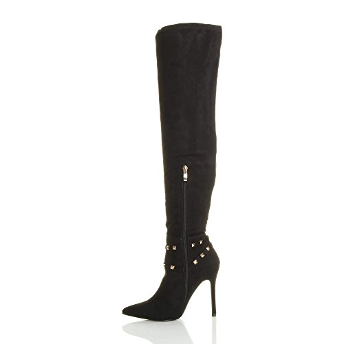 Over Studded Thigh Boots Size Pointed The Ajvani high Black Heel Knee Suede Womens Stirrup Ladies vwPqYgqZT