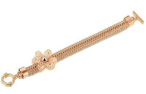 Bishilin 18K Gold Plated Women Bracelet Flower Mesh Simple Wide Rose Gold Polish