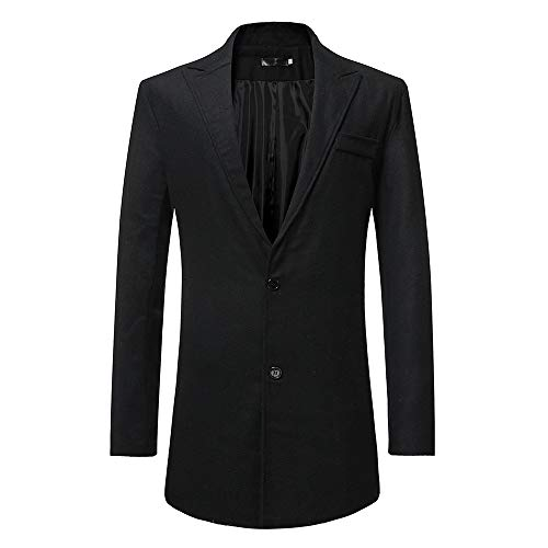 Curved Ridge Jacket - iLXHD Slim Single Breasted Fit Long Sleeve Suit Jacket Trench Coat Windbreaker(Black,XL)