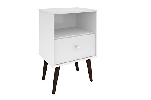 Manhattan Comfort Liberty Collection Mid Century Modern Nightstand With One Open Shelf and One Drawer, Splayed Legs, White (1 Drawer Small Nightstand)