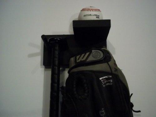 Full Size Baseball Combo Unit Bat Ball Glove Rack Display Black Wall Mount by Baseballrack