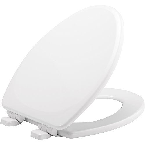 MAYFAIR Toilet Seat will Slow Close and Never Loosen, ELONGATED, Durable Enameled Wood, White, 143SLOW (Seat Elongated Toilet Mayfair)