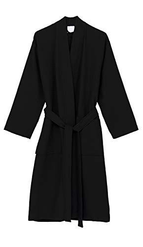 - TowelSelections Women's Robe, Kimono Waffle Spa Bathrobe X-Small/Small Phantom Black