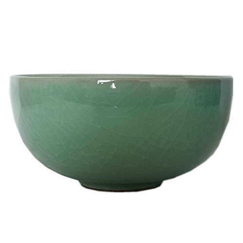 Celadon Glazed Chinese Rice Bowl 4.5Inch with Cracking(1, Army Green)