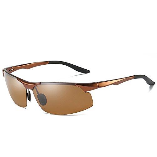 UV400 plata reducen hombres para y reflexiones macho TIANLIANG04 magnesio de gafas Gafas tendencioso Brown gafas guía sol aluminio gafas de pesca de tan 1naZCq