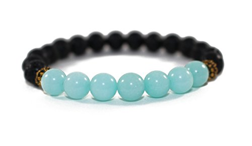 Amazonite Bracelet - Mana Vibes Lava Rock and Amazonite Essential Oil Beaded Diffuser Bracelet, Essential Oil Jewelry, 8mm Bead Size, Yoga Jewelry