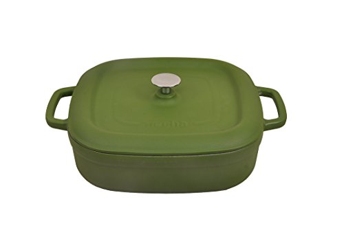Matte Green Shallow Ceramic Dutch Oven