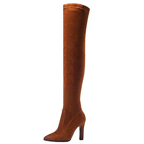 Donne Lunghi Block Heels Moda 3 marrone Stivali Pull On Zanpa gqdUWU