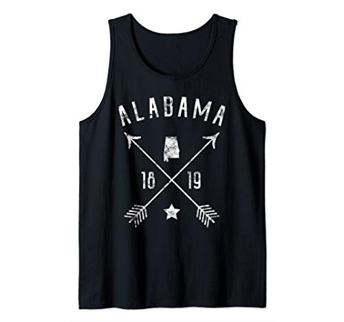 Alabama Retro Vintage Distressed State Outline Cross Arrows Tank Top