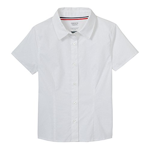 Pointed Collar Shirt (French Toast Girls' Big Short Sleeve Stretch Shirt, White, 10)