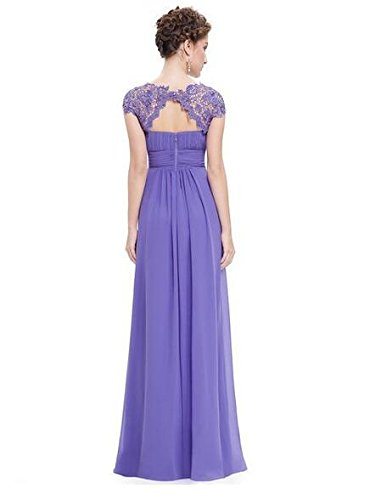 Prom Chiffon Sleeves Sequins Long Gown Dress Lace Mother Cap Evening Botong Lavender BxUnqz0w