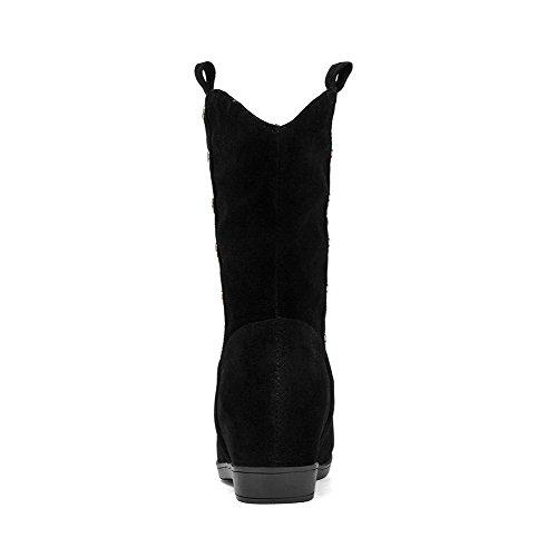 AllhqFashion Mujeres Sin cordones Cuña Sólido Caña Media Botas con Con tachuelas Negro