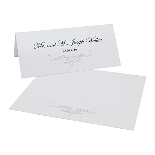 Ornate Flourish Easy Print Place Cards, Pearl White, Silver, Set of 475 (119 Sheets) by Documents and Designs