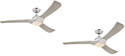 Ciata Lighting Techno 52-Inch Brushed Aluminum Indoor LED Ceiling Fan, Light Kit with Opal Frosted Glass (Brushed Aluminum 2 Pack)