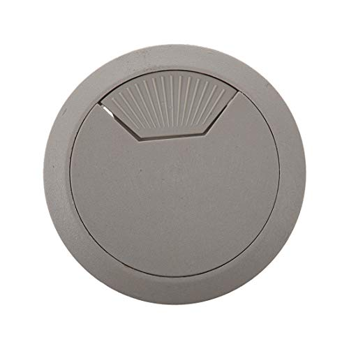 Value-5-Star - 2 Pcs Light Gray Round Plastic Desk Grommets Wire Hole Cap Cover
