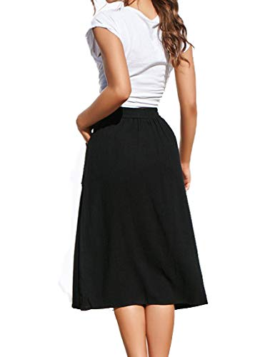 a3d9708d82 Naggoo Womens Casual Front Button A-Line Skirts High Waisted Midi Skirt  with Pockets