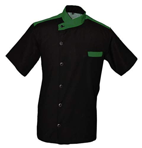 Leorenzo Creation CL-55 Chef Jacket Green Colour in Collar Chef Coat (Size-M, Black Colour)