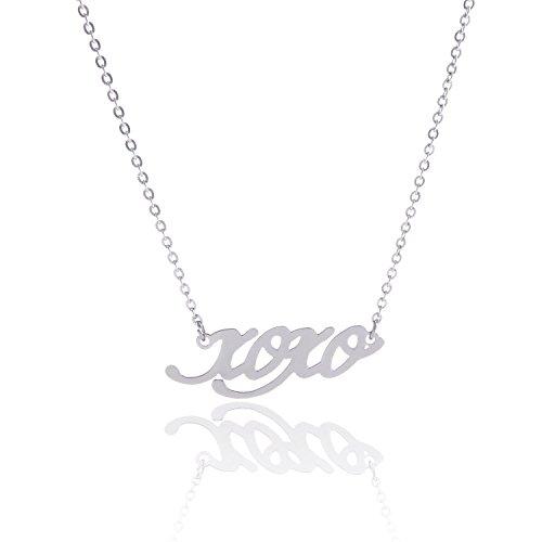 HUAN XUN Stainless Steel Script Words Pendant Couples Necklace, XOXO