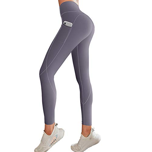 FUNANI High Waisted Leggings for Women, Pockets Yoga Pants for Tummy Control with Non See-Through Material (Grey, X-Small)