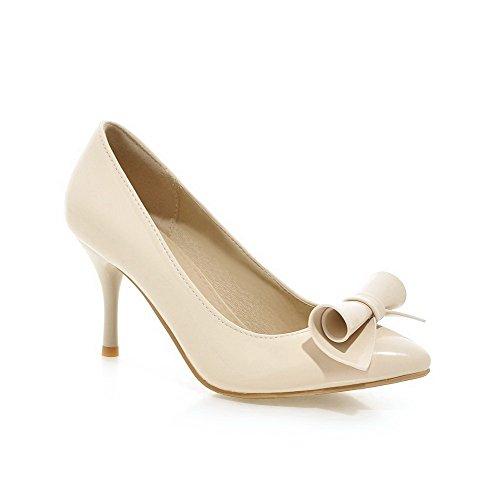 Allhqfashion Femmes Pull-on Talons Hauts Pu Pointu Fermé Chaussures À Bout Fermé-chaussures Beige