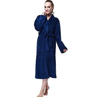 Bathrobe, Drowsy Cloud Soft Women Robe Plush Kimono Collar Bathrobe Blue In Size M