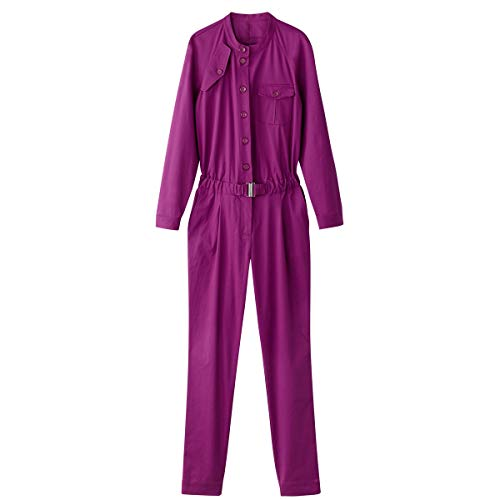 La Redoute Collections Womens Cotton Belted Boilersuit Purple Size US 8 from La Redoute