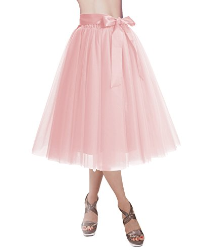 (DRESSTELLS Knee Length Tulle Skirt Tutu Skirt Evening Party Gown Prom Formal Skirts Pink M-L)