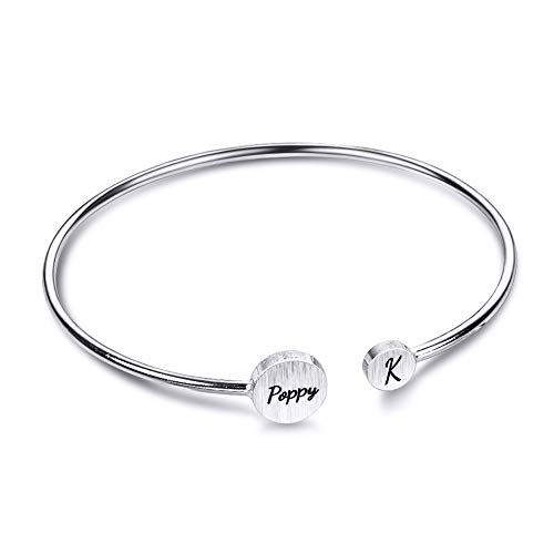 (LONAGO Personalized Name Double Disc Bracelet Open Bangle Cuff Custom Sterling Silver Brass Initial ID Engraved Charm Adjustable Size Jewelry Gift)