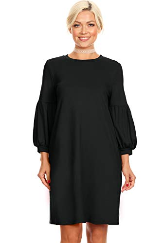 Black Cocktail Shift Dress Long Sleeve Reg and Plus Size Black Casual Dress for Women with Pockets (Size XXX-Large US 20-22, Black)