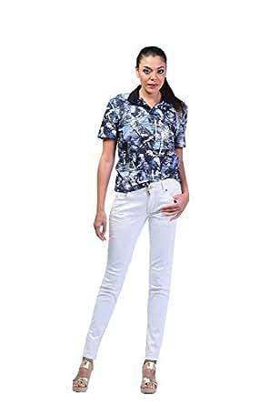 UUYUK Horizontal Sheer Stripes Crafted Printed T-Shirt For Women