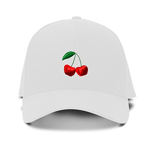 (Speedy Pros Cherry Embroidery Adjustable Structured Baseball Hat White)