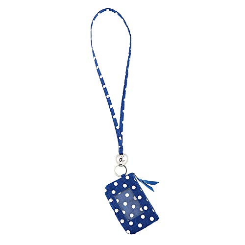 Lam Gallery Fashion Zip ID Case and Lanyard Badge Holders Card Holder Coin Wallet for Womens (Navy Blue Dot) ()