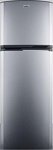 Summit FF948SS 8.8 cu.ft. frost-free refrigerator-freezer adjustable glass shelves and reversible doors with platinum cabinet and stainless steel by Summit