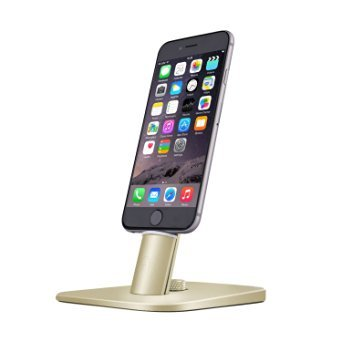 Spinido TI-SET Adjustable Charging Dock holder for iPhone 7/7Plus/SE/5/5s/6/6S Plus/iPad,Request Original Lightning Cable, Cables not included(Luxury Gold)