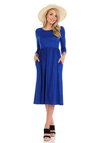 iconic luxe Women's Solid Fit and Flare Midi Dress with Pockets Medium Royal Blue