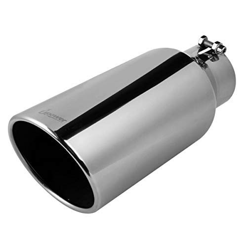 "Upower Universal Diesel Trucks Car Exhaust Tip 4 Inch Inlet 6"" Outlet 15"" Long Stainless Steel Bolt-On"