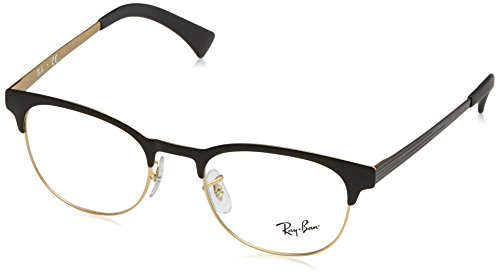 Ray-Ban RX6317 Round Metal Eyeglass Frames, Black On Matte Gold/Demo Lens, 51 mm