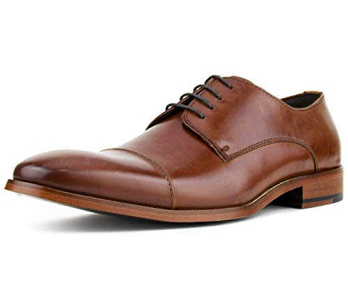(Asher Green Genuine Calf Leather Cap Toe Lace Up Oxford Dress Shoe Style AG3887 Tan)