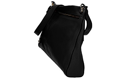 Tasche damen mit schultergurt PIERRE CARDIN schwarz leder Made in Italy VN1177