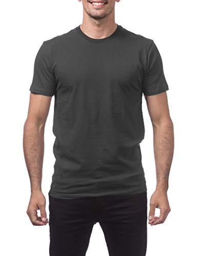 Pro Club Men's Premium Lightweight Ringspun Cotton Short Sleeve T-Shirt, Graphite, Large