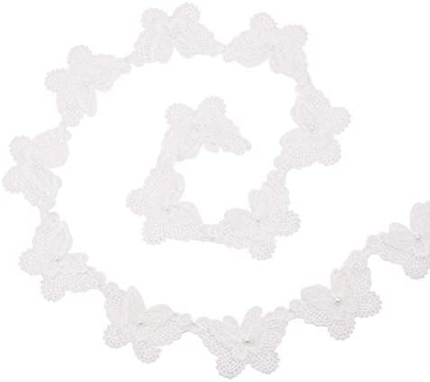 WANDIC レースエッジトリム, 5ヤード 蝶 ポリエステル パールエッジングトリミングファブリック ウェディングアップリケ