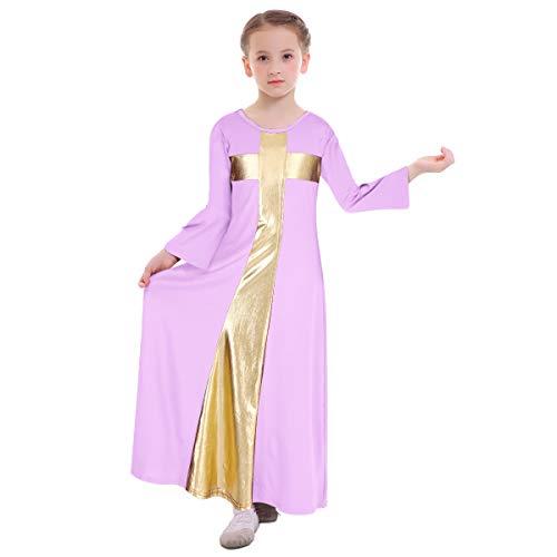 Kids Girls Liturgical Praise Robe Cross Lyrical Dance Worship Dress Metallic Color Block Bell Long Sleeve Loose Fit Floor Length Holiday Swing Dress Ballet Praisewear Costume Light Purple-Gold -