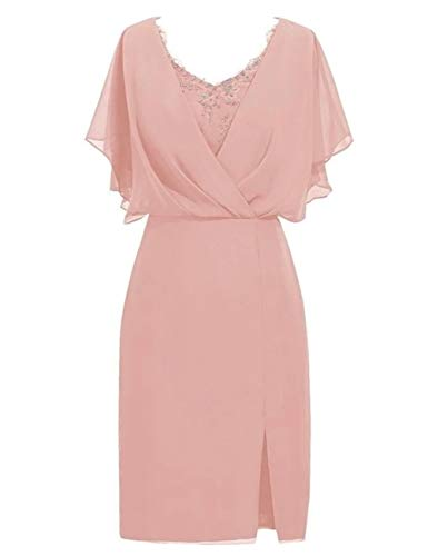Mother of The Bride Dresses Chiffon Lace Beaded Knee Length Mother Party Dress Dusty Pink US14