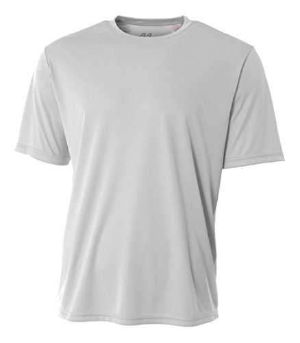 A4 Men's Cooling Performance Crew Short Sleeve T-Shirt, Silver, (Dri Fit Running Tee)