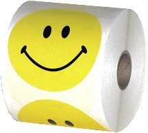 Smiley Store Smiley Face Stickers 3'', Roll of 500, Yellow